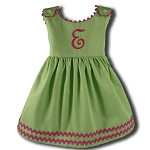 Monogrammed Garden Princess Dress Lime with Pink