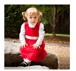 Monogrammed Red Corduroy Dress with White Sash