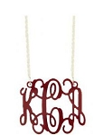 Large Red Acrylic Monogram Pendant Necklace on Sterling Silver Chain