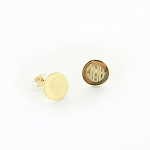 Monogrammed Round Gold-Tone Earrings