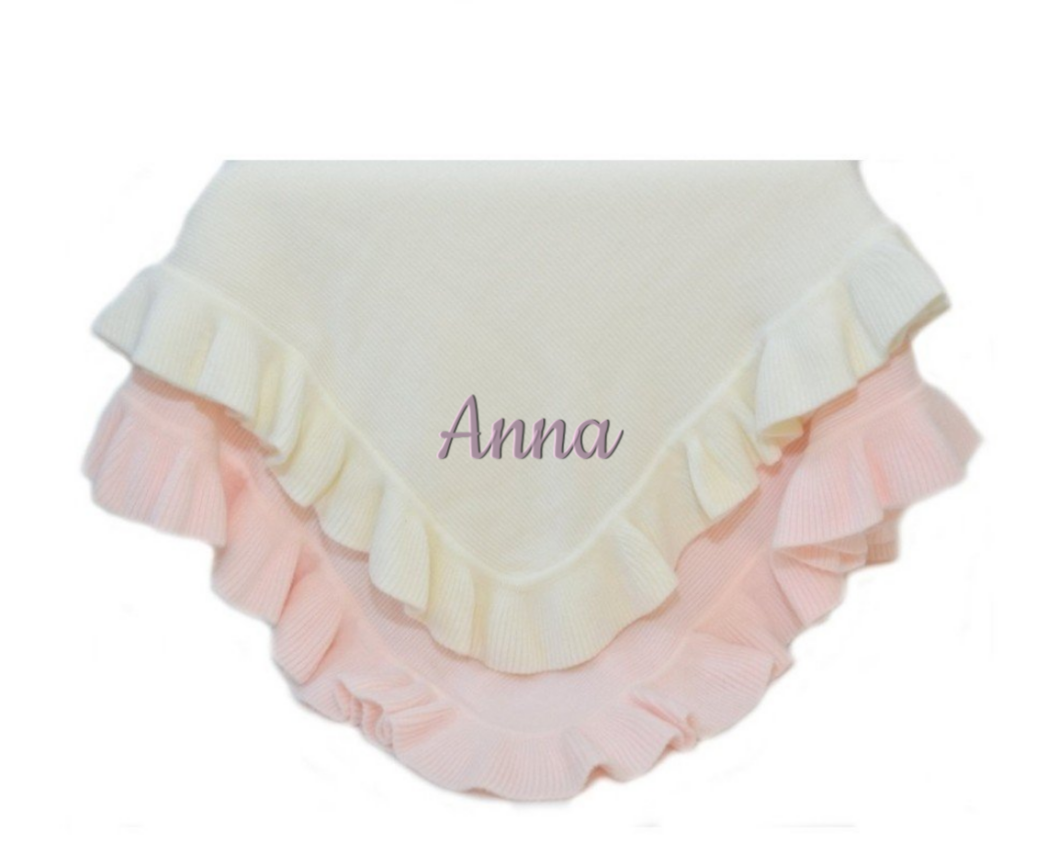 Monogrammed Jersey Knitted Ruffle Blanket