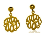 Classic Monogrammed Hand Cut Script Earrings On Ball And Post