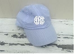 Monogrammed Blue Seersucker Bow Closure Ball Cap