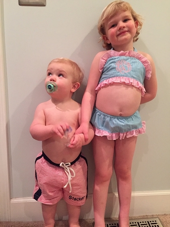 bbdc101a91 Monogrammed Toddler's Aqua and Pink Seersucker Bikini