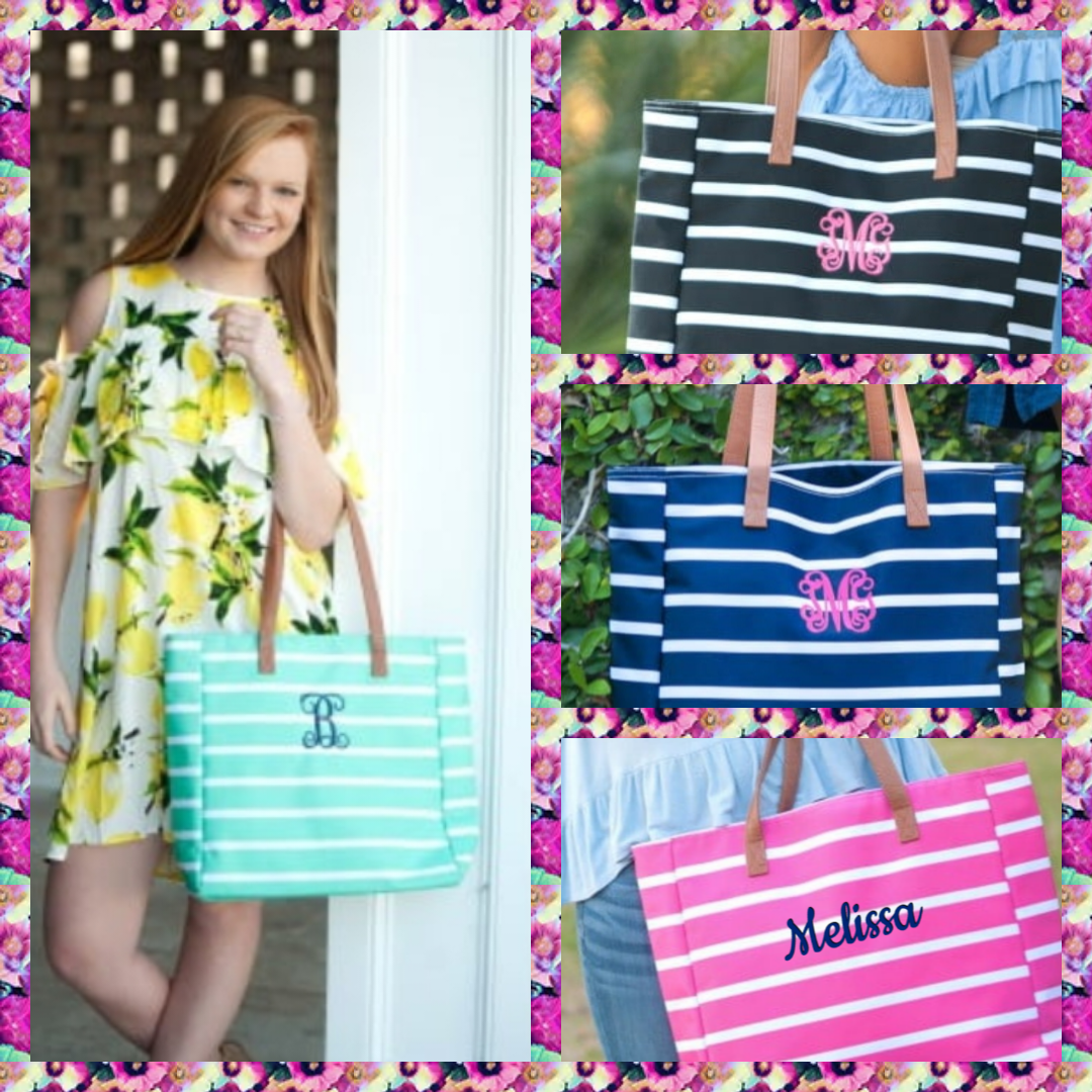 Monogrammed  Striped Tote