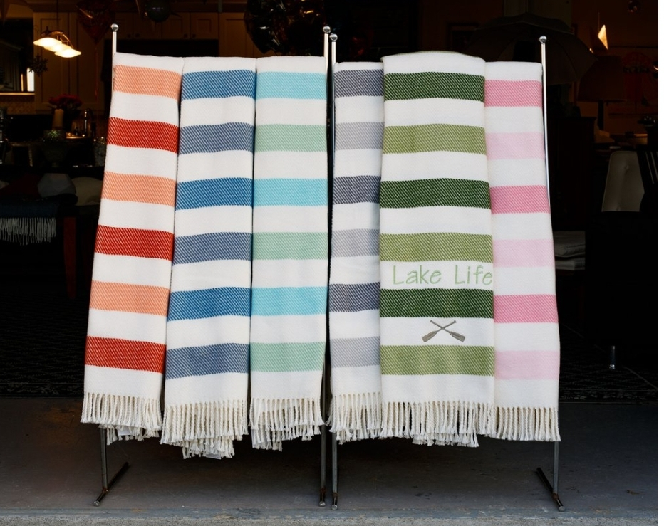 Monogrammed Sweet Stripes Plush Throw