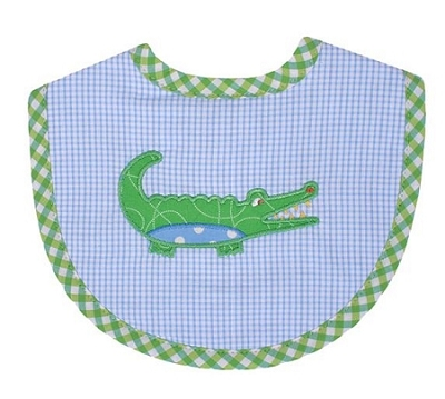 Monogrammed 3 Marthas Blue Alligator Bib