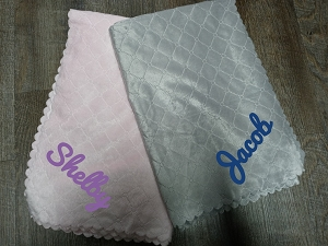 Monogrammed Nanas Single Face Quilted Plush Baby Blanket