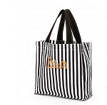 Personalized Black and White Striped Trick or Treat Tote