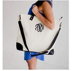 Monogrammed Sullivan Shoulder Tote-Hot Pink, Black or Mint