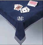 Monogrammed Suede Cloth Card Table Cover