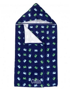 Monogrammed Getting Crabby Hooded Towel