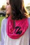 Monogrammed Solid Hot Pink Infinity Scarf