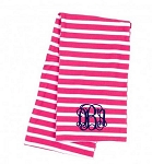 Monogrammed Hot Pink Striped Inifinity Scarf