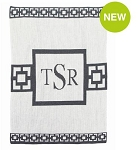 Monogrammed Modern Scroll Knit Blanket