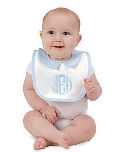 Monogrammed Quilted Gingham baby bib