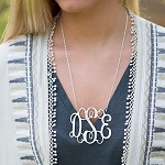 Silver interlocking Monogram Necklace