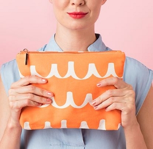 Personalized Orange Scribble zipper pouch