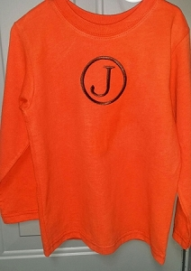 Monogrammed Orange Long Sleeved Shirt