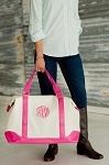 Monogrammed Sullivan Canvas Overnight Bag-Pink