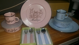Adorable Bunny dishware set in Pink or Blue