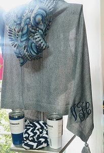 Monogrammed Grey Poncho with Tassel