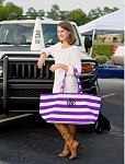 Monogrammed Purple Stripe Ultimate Tote