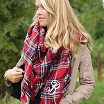 Monogrammed Red Tartan Plaid Blanket Scarf