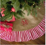 Monogrammed Red Stripe Burlap Christmas Tree Skirt