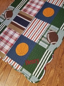 Monogrammed Sports Baby Quilt