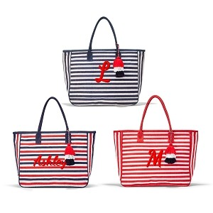 Monogrammed Striped Jute Tote Bag