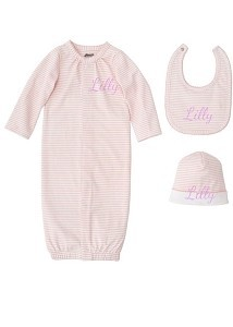 Monogrammed Mud Pie Layette Set in Pink or Blue