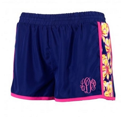 Monogrammed Floral Active Wear Shorts