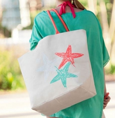 Monogrammed Starfish Tote Bag