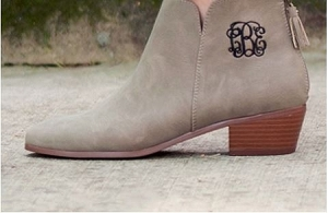 Monogrammed Taupe Ankle boots