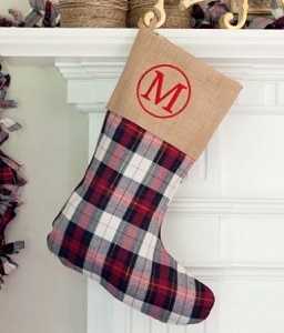 Monogrammed Winter Plaid Stocking