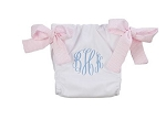 Monogrammed White Diaper Cover with Pink Seersucker ties