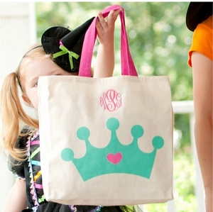 Monogrammed Crown Canvas Tote