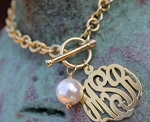 Hand Cut Monogrammed Toggle Bracelet with Pearl