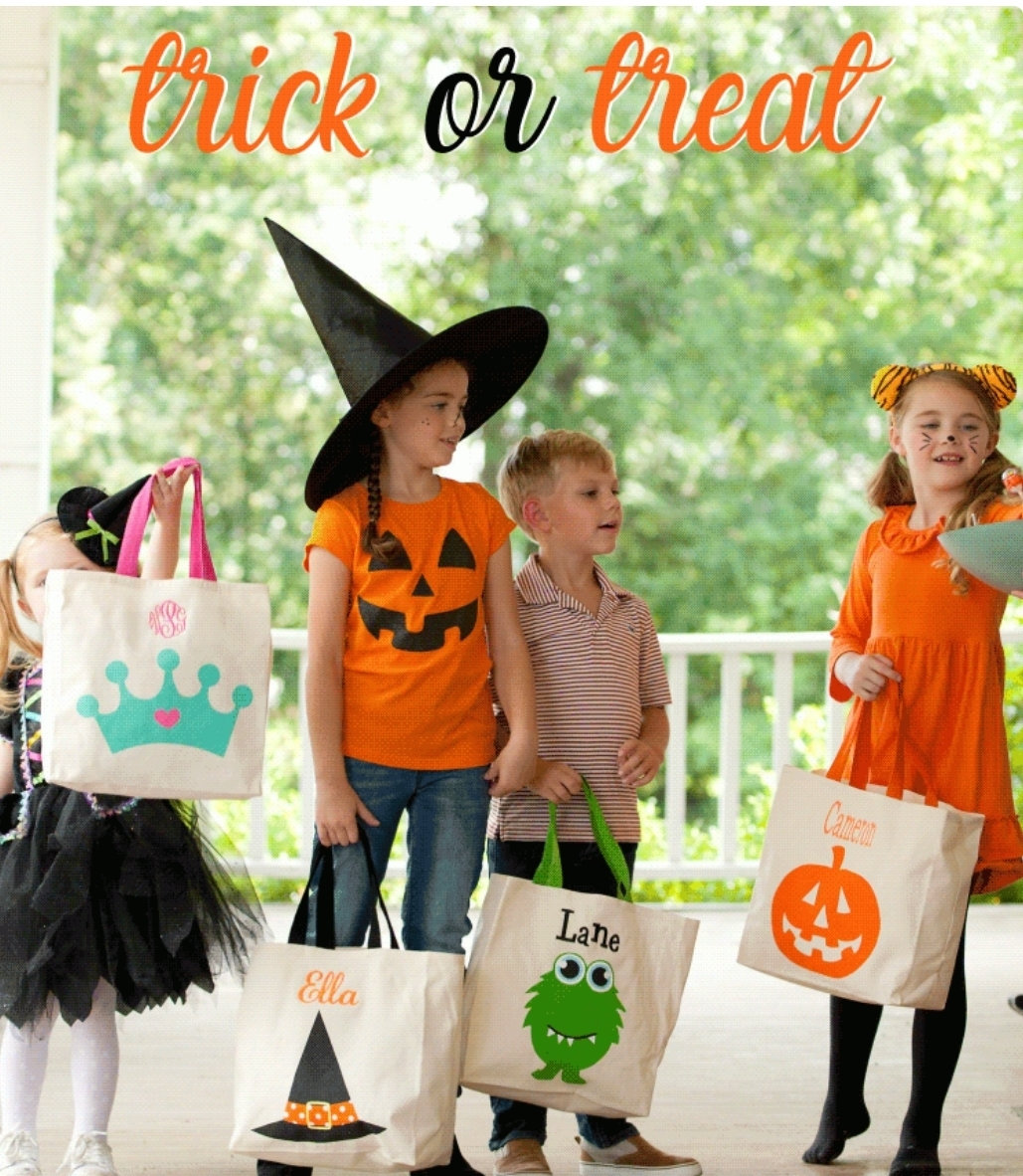 Monogrammed Halloween Trick or Treat Bag