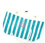 Monogrammed Turquoise Nautical Stripe Tote