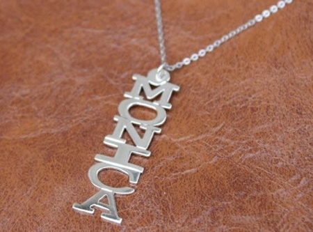 Personalized Vertical Nameplate Necklace