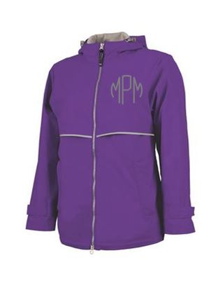 Monogrammed Ladies Violet Rain Coat
