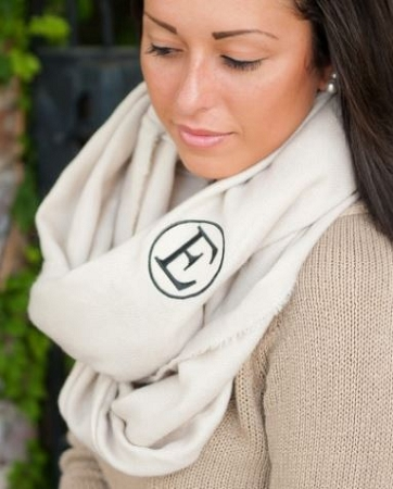 Monogrammed Solid Cream Fringe Infinity Scarf