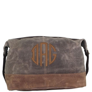 Monogrammed Waxed Canvas Top Zip Dopp Kit