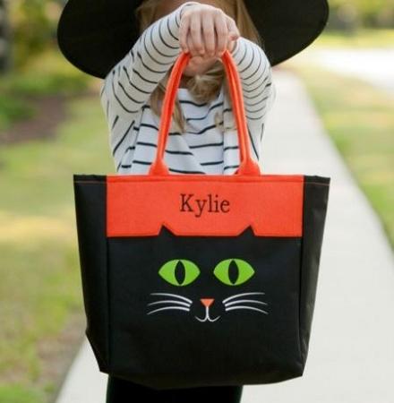 monogrammed halloween cat tote bag