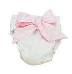 Monogrammed Bow Diaper Cover-White with Pink Bow