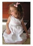 Monogrammed Garden Princess Dress White with Pink Trim