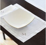 Set of 6 Monogrammed Hemstitched Placemats