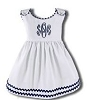 Monogrammed Garden Princess Dress White with Navy Trim